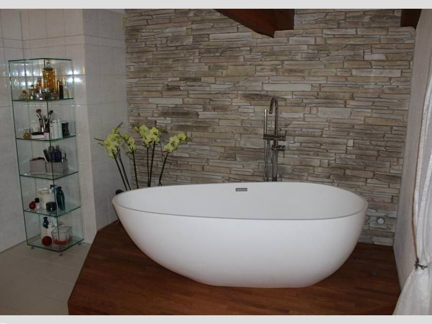 Freistehende Badewanne Luino aus Mineralguss - Weiß matt oder glänzend
