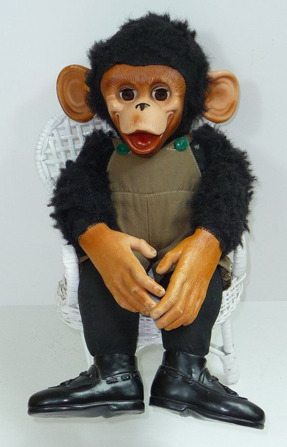 Black Plush Stuffed Monkey Vintage Toys I Love
