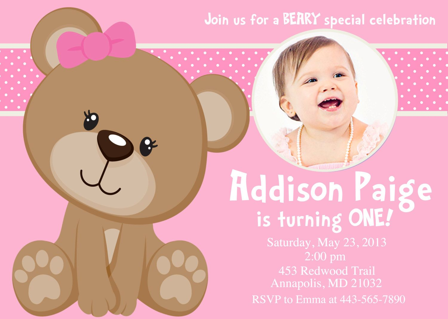 Pink Teddy Bear Birthday Party Invitation Digital File Teddy