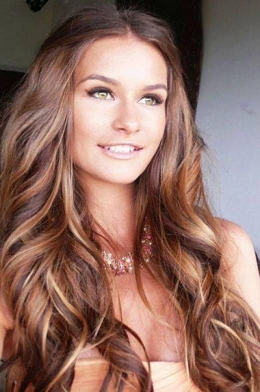 Hair Color Chestnut Highlight Color For Very Long Wavy Hairstyles