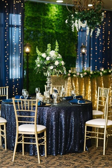 Deer Creek Golf & Banquet Facility 2018 wedding show covered by Eventsource. Westney room decor done by Annie Lane Events and Branching Out Florists. Gold Navy theme. Chiavari chairs. Backdrop