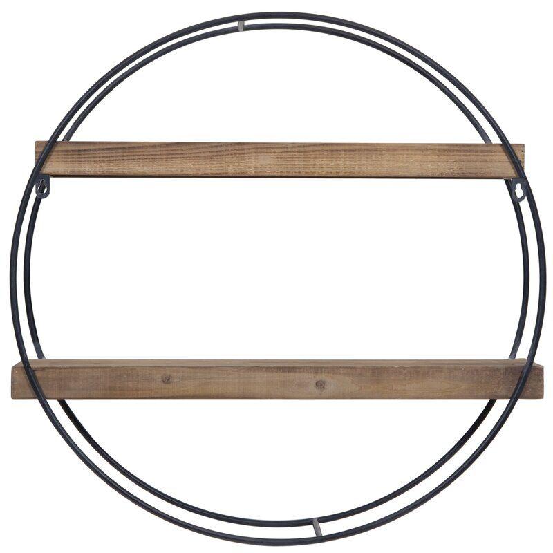 Maisha Round Metal And Wood Wall Shelf Metal Wall Shelves