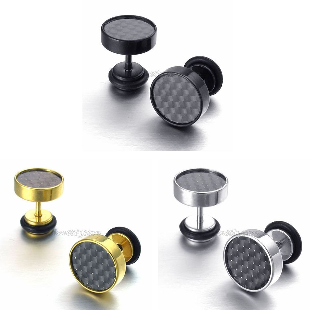 Details About Men's Stud Earrings Stainless Steel Illusion Tunnel Plug  Screw Back Carbon Fiber