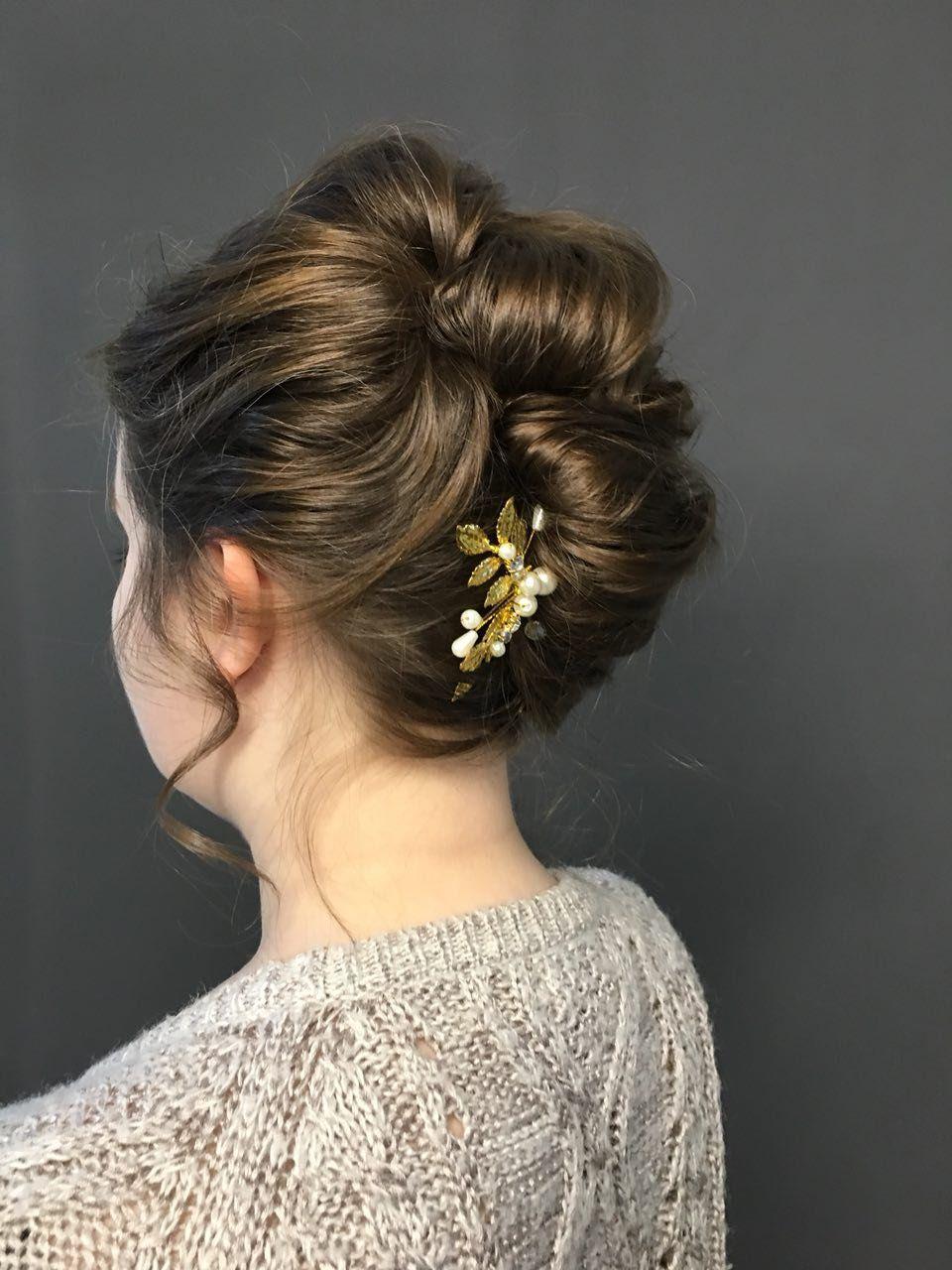 Gold Leaf Hair Pin Bridal Pearl Hair Pin Rhinestone Hair Pin