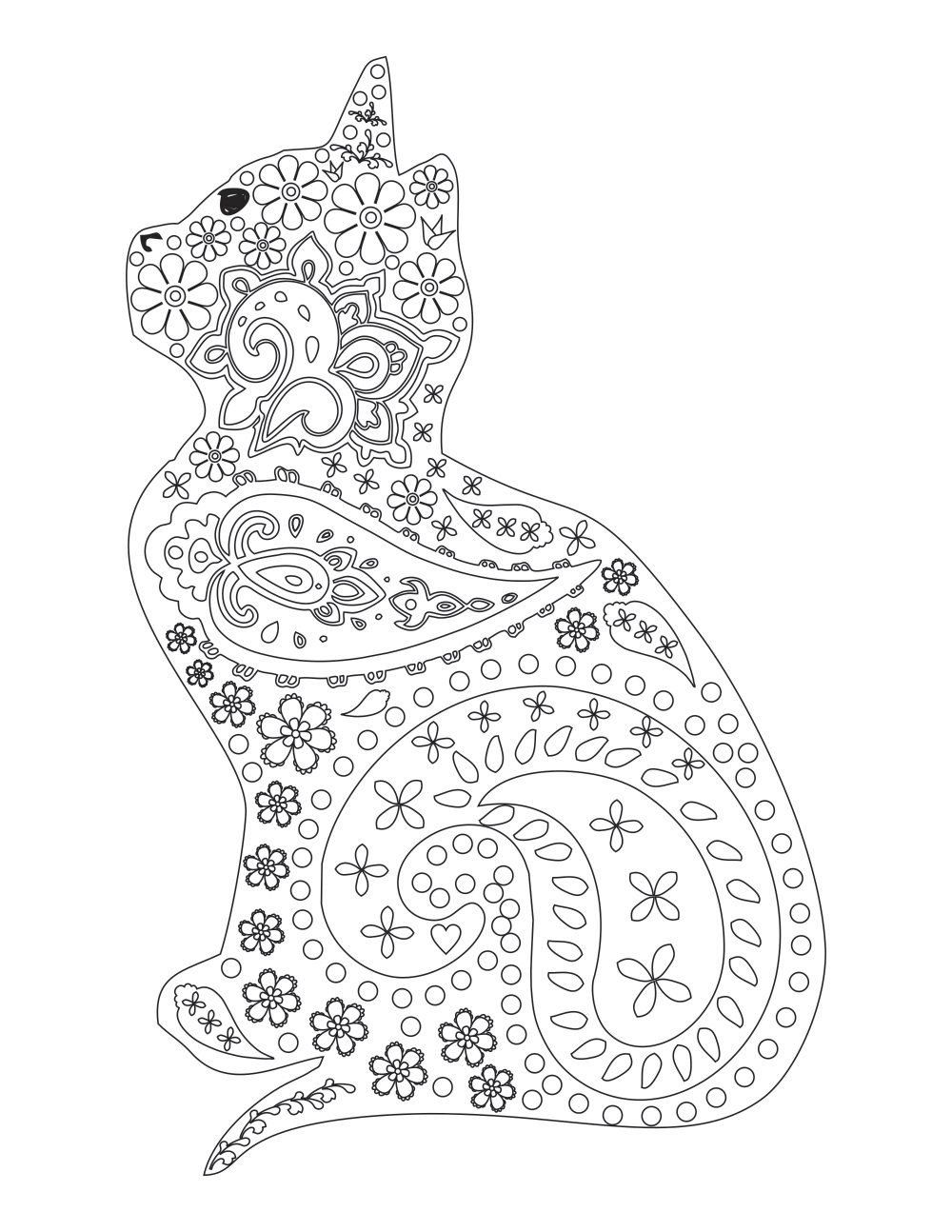 NEW Cat Kitten Adult Coloring Page Instant PDF Digital