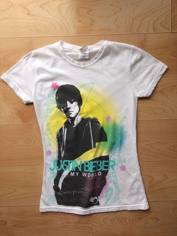 c6bbd820f Justin Bieber My World Extra Small Juniors T-shirt White #BayIsland  #BasicTee