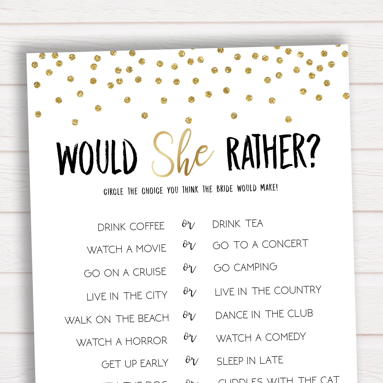 Bridal Shower Game Would She Rather Bridal Shower Games