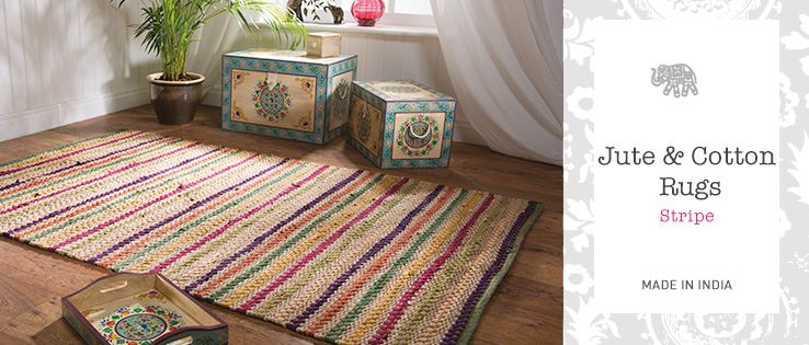 Jute Cotton Striped Indian Rug Furnishings Namaste Home