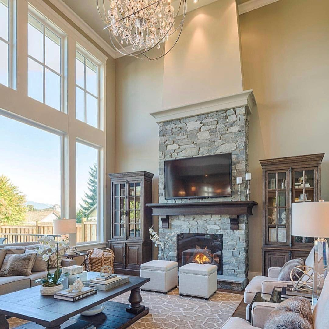 Y All Know How I Feel About This Enormous Elegant Living Space With 20ft Ceilings Stone Fireplace Giraffe Pr Farm House Living Room House Family Room Design