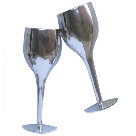 CONTEMPORARY \'SILVER WINE GLASSES\' METAL WALL ART | Interior design ...