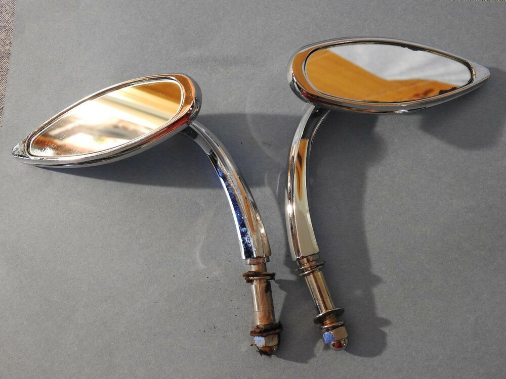 Motorcycle Mirrors Chrome Long Stem Harley Davidson Style 10mm Thread Universal