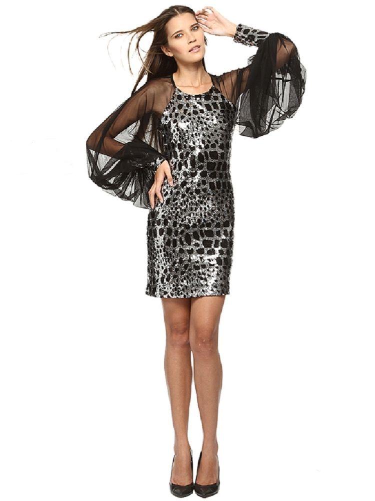 Party Kleid schwarz silber Pailletten mini Sexy transparent lang puf ...