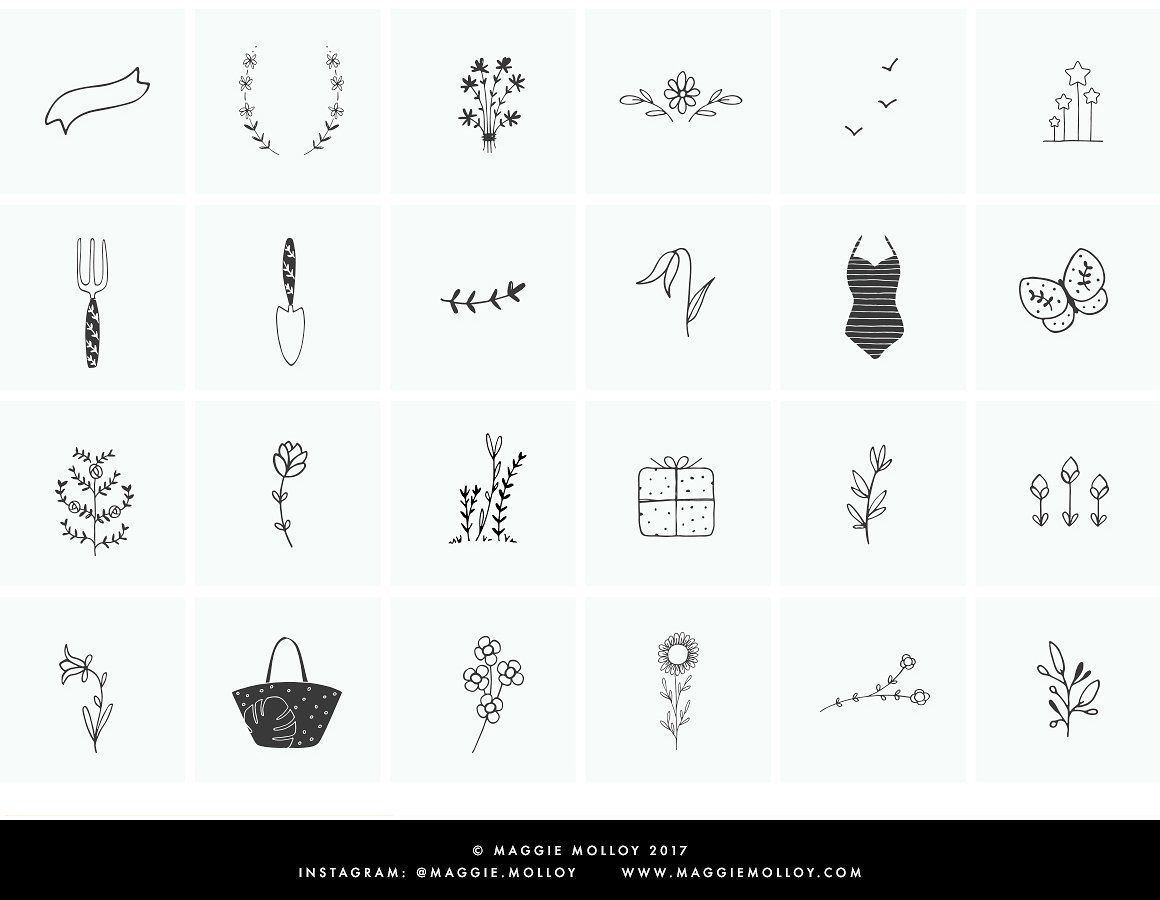 101 Hand Drawn Logo Elements EPS PSD by Maggie Molloy on