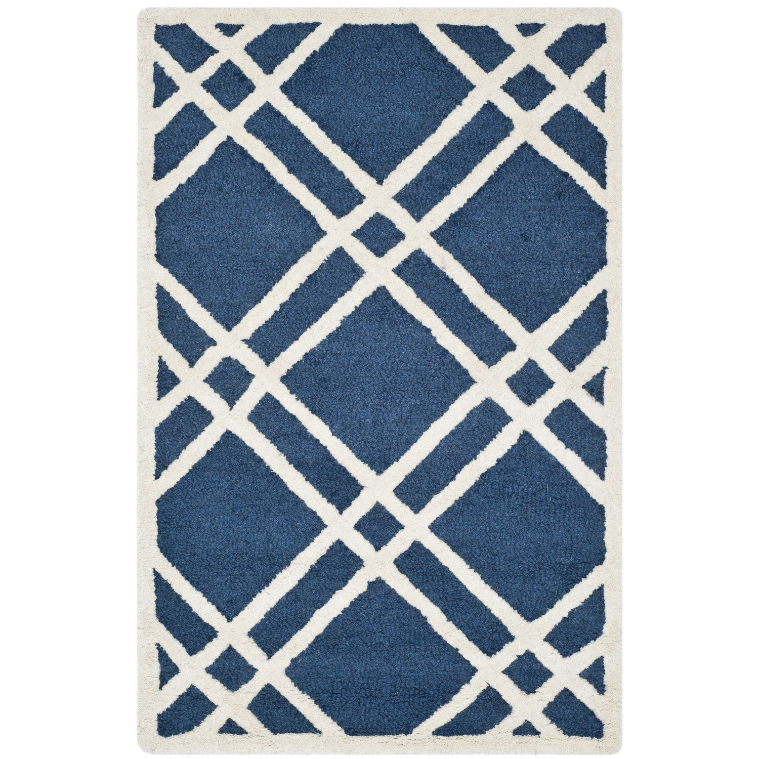 3x5 Next To Bed With The Shaggy Silver Circle Rug Under Chair Safavieh Cambridge Navy Blue Ivory Area Rug Geometric Area Rug Area Rugs Rugs