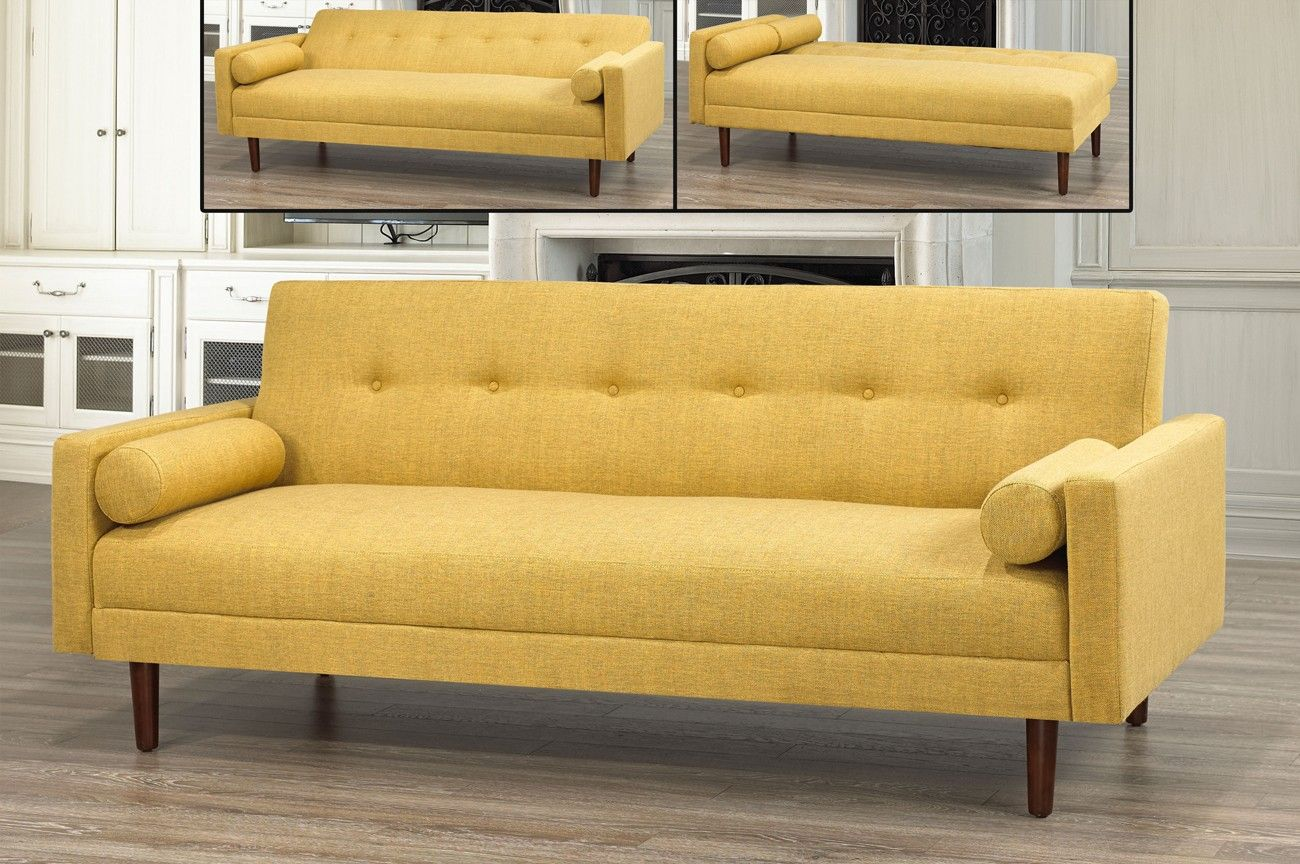 Fabric Sofa Bed With Accent Pillows