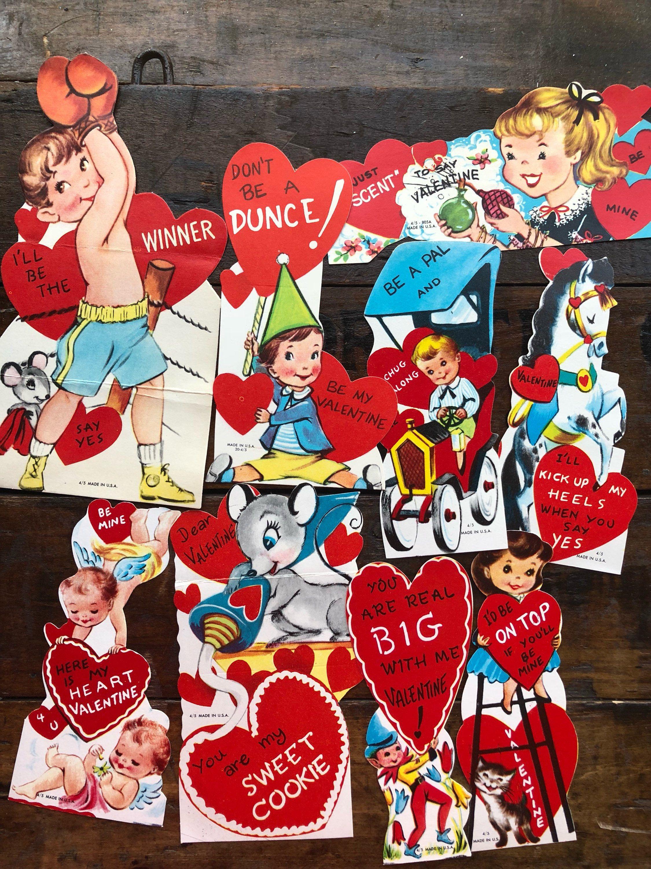 vintage valentine cards  used lot of 9 vintage  school