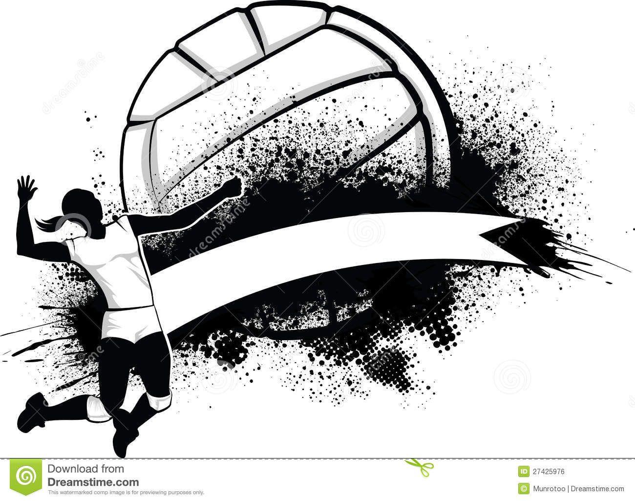 Girl Volleyball Grunge Banner 27425976 Jpg 1300 1027 Volleyball Images Volleyball Designs Volleyball