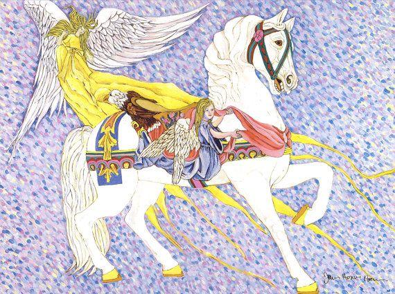 Angelic Treasure - Carousel Horse Art Print #Carousel Art #Horse #Impressionist #Angel #Children's Art #Amusement Park #Carnival #Antique