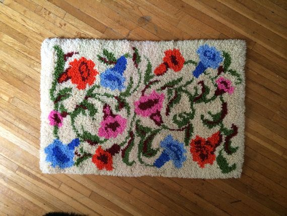 Vintage Floral Rya / Latch Hook Rug by FLORASTANLEY on Etsy, $60.00