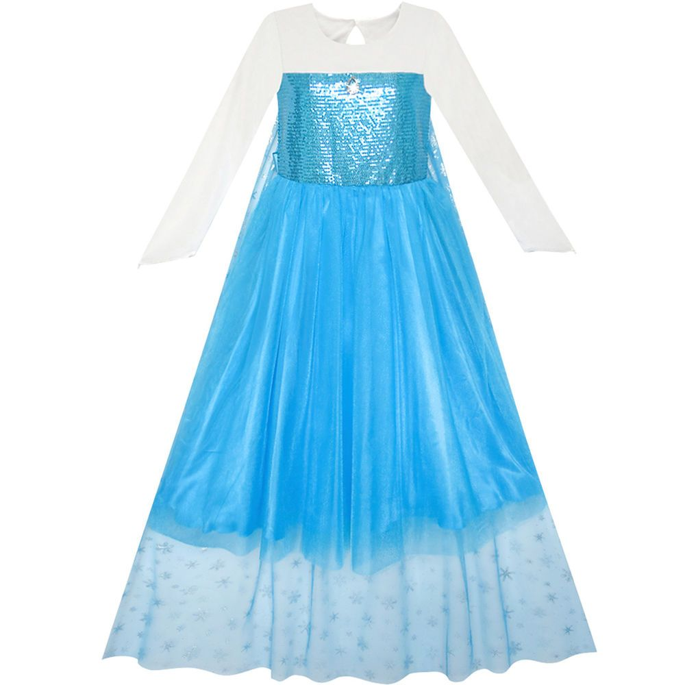 Flower Girl Dress Cartoon Costume Princess Elsa Cloak Party Dress ...