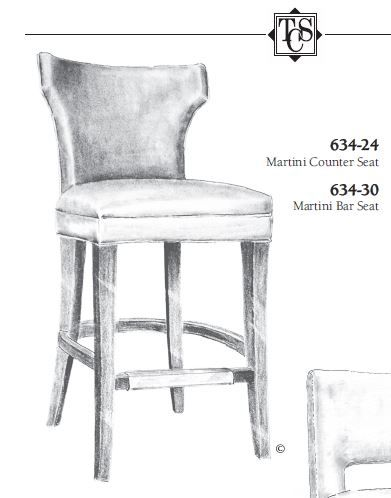 Tcs Designs 634 24 Martini Counter Seat 395 Net 3 Yds Com 1 5 Yds Bias Welt Outside 20w 24d 39h Inside 20w 1 Bar Seating Counter Seating Bar Stools