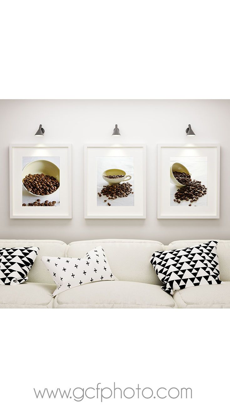 Coffee beans art set of 3 prints for wall decor in a classic ...