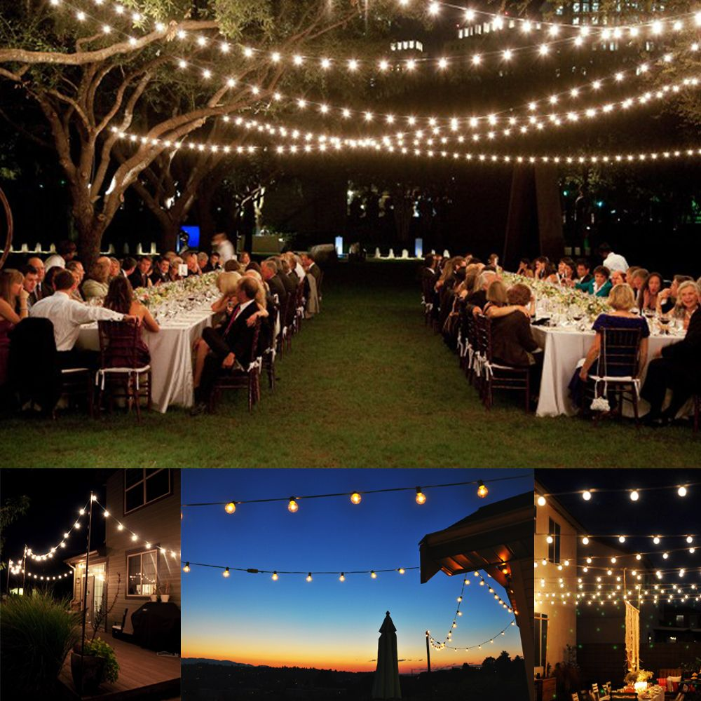 Superior 100 Foot G40 Outdoor Lighting Patio Party Globe String Lights 125 Clear  Bulb Set