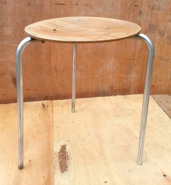 Upcycled Rustic Wooden Stool With Silver Metal Base
