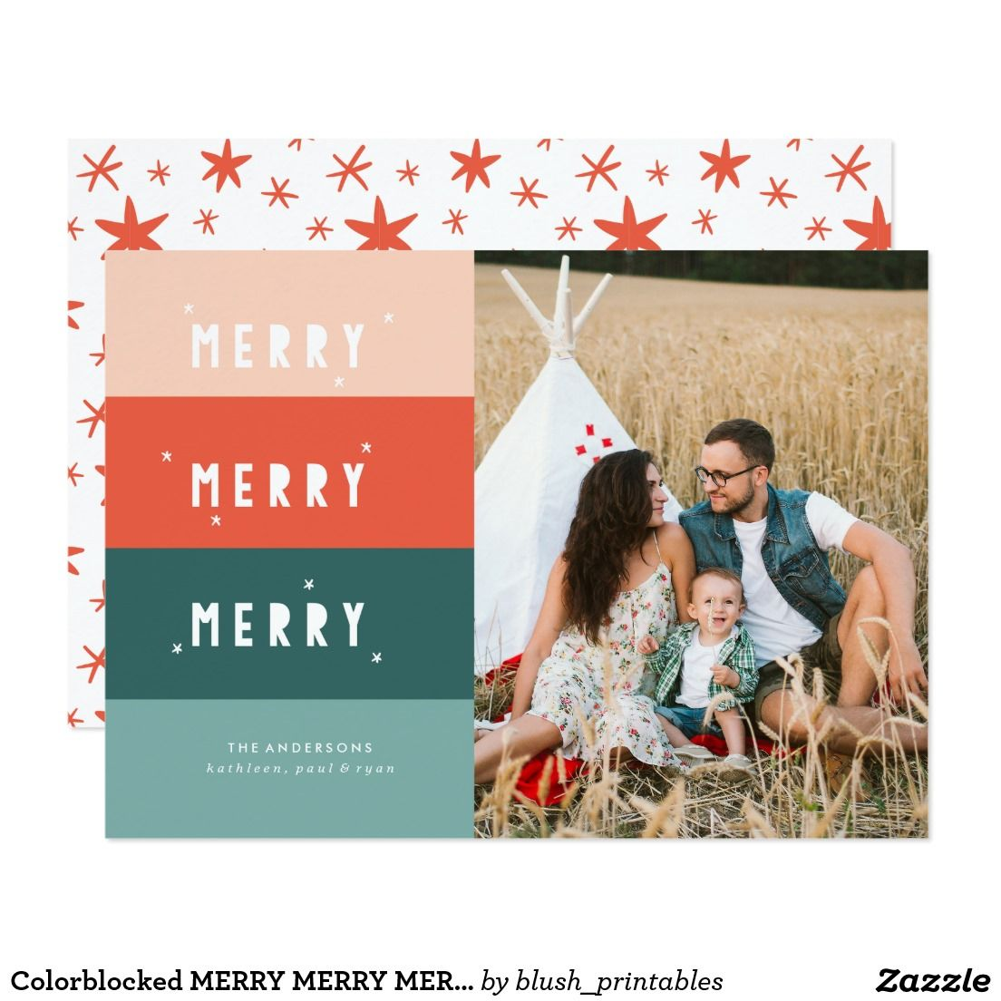 Colorblocked MERRY MERRY MERRY Christmas Card | Christmas Cards ...