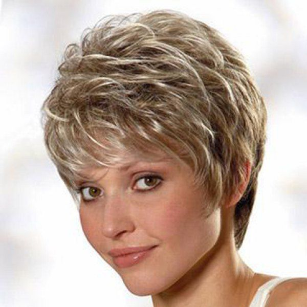 Spiffy Short Haircut Capless Sparkle Mixed Color Fluffy