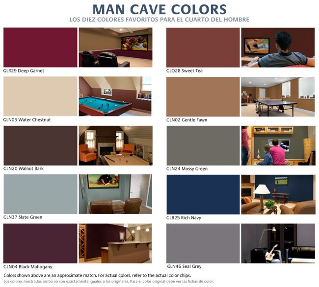 Glidden S Top Ten Man Cave Colors For 2011 The Home Depot Blog Water Chestnut Walnut Bark Mossy Green Man Cave Colors Man Cave Paintings Dream Man Cave