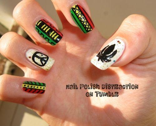 Black Cannabis Design Green Leaf Nail Art