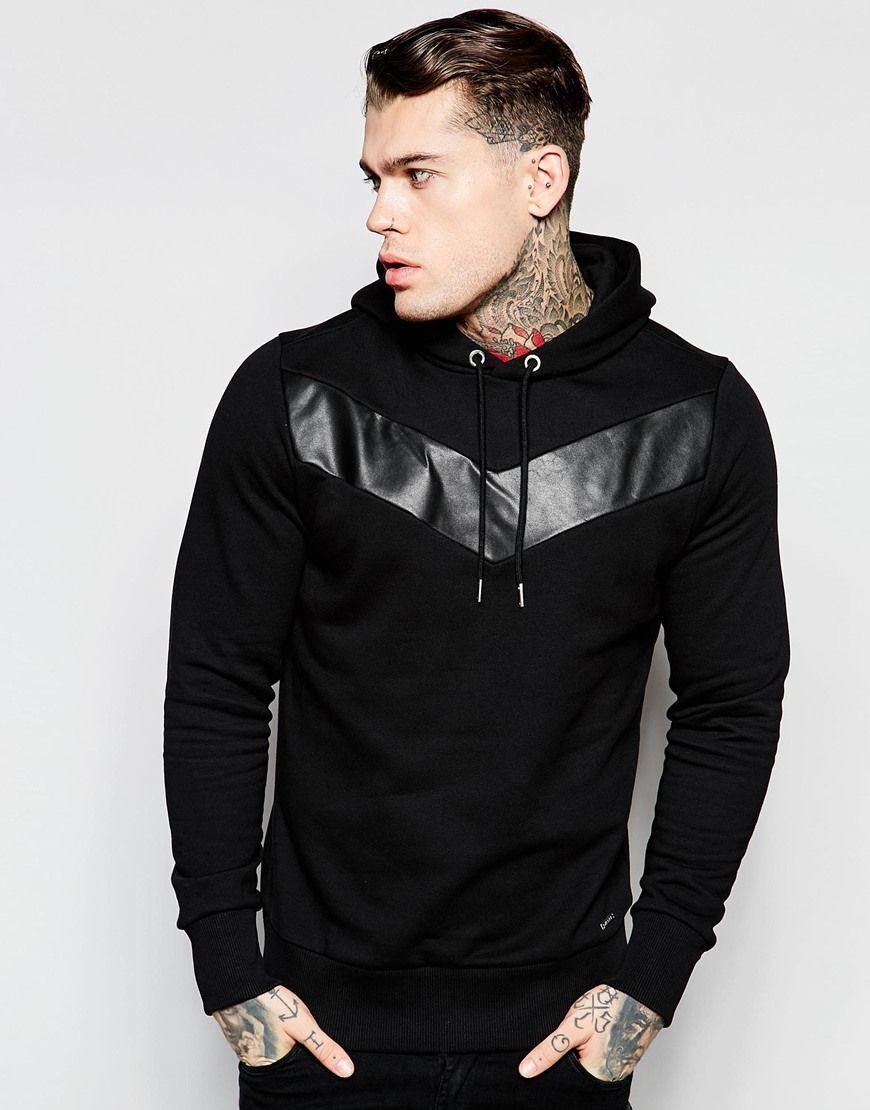 Diesel Hoodie S Mangala Lth Leather Chevron In Black At Asos Com Mens Sweatshirts Hoodie Hoodies Mens Fashion Streetwear [ 1110 x 870 Pixel ]