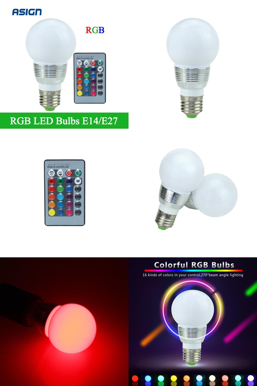 Visit To Buy 1pcs 16 Colors Dimmable E27 E14 Rgb Led Lamp Ac85