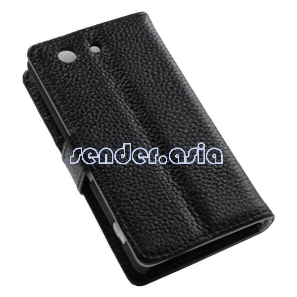 Genuine Leather Stand Protective Case for Sony Xperia Z3 Compact