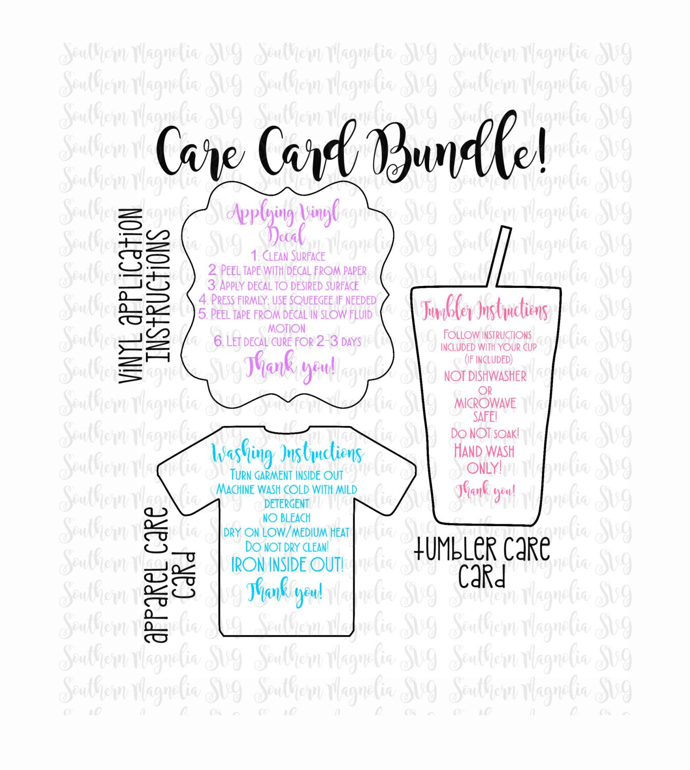 Care Card Instructions BUNDLE Apply Vinyl By SouthernMagnoliaSVG - Vinyl cup care instructions