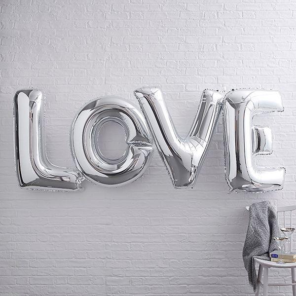 Gross Folienballon Schriftzug Buchstaben Love Silber H Ca