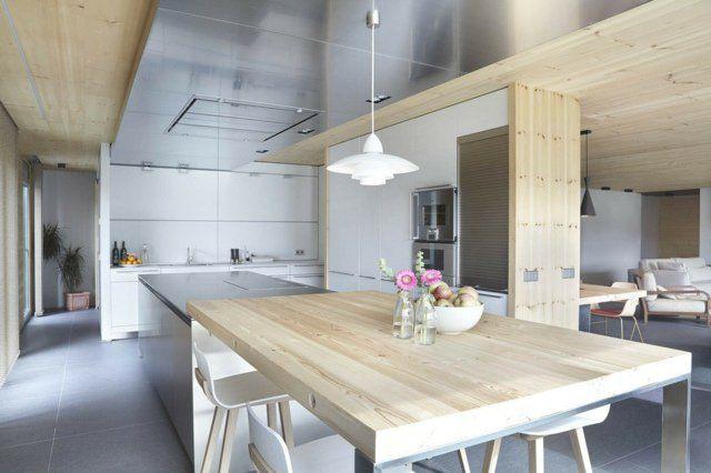 Table Cuisine Moderne | 73 Idees De Cuisine Moderne Avec Ilot Bar Ou Table A Manger
