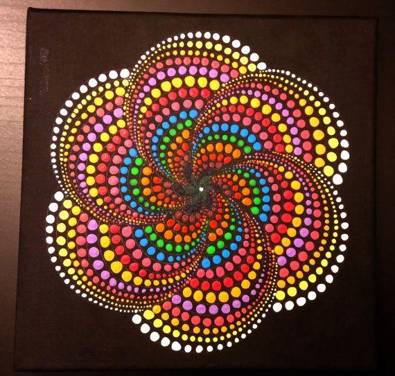 Pintura De Mandala Punto Original Hecho A Mano Por Por Moldaart - Pinturas-de-mandalas
