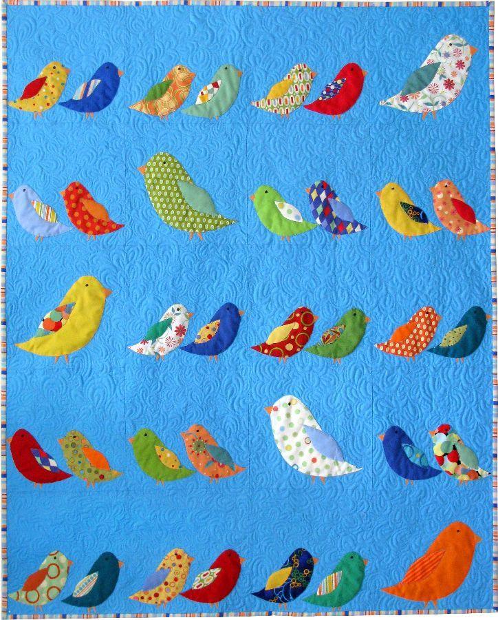 Bird quilt.  Colour adventures with a bird quilt.