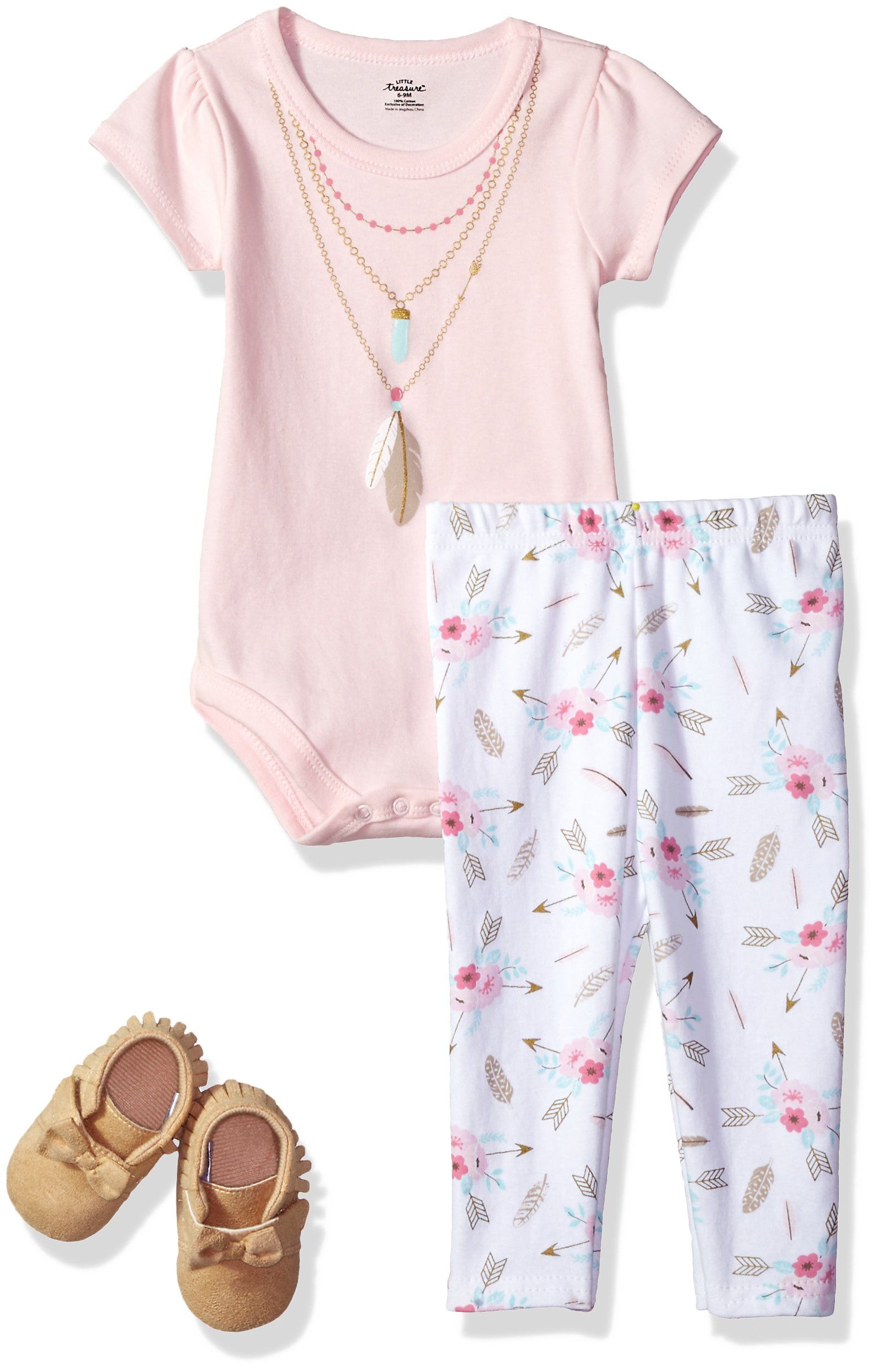 2b30709a3f22 Little Treasure Baby Bodysuit Pant and Shoe Set Feathers 03 Months ...