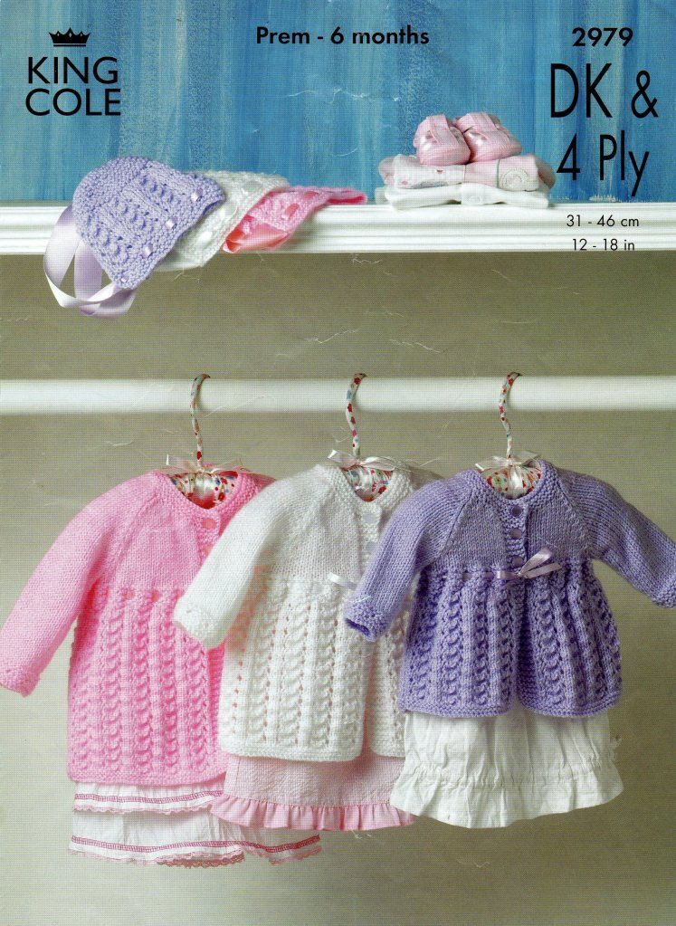 Baby knitting pattern for baby matinee coat and bonnet dk and 4 ply ...