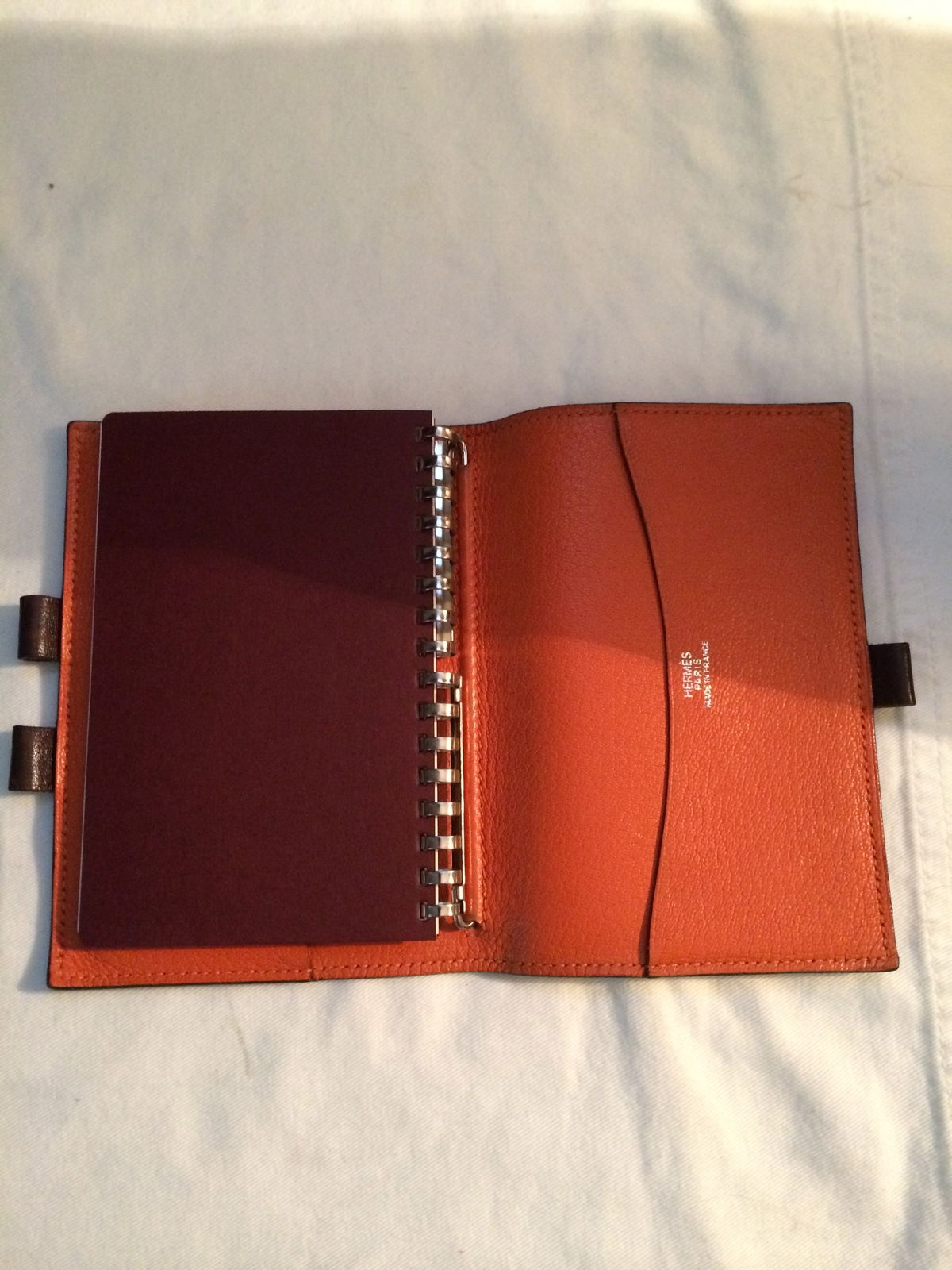 AUTHENTIC HERMES Brown LEATHER MINI AGENDA COVER DAY PLANNER MADE IN FRANCE   eVintage 42bb3ed05798f