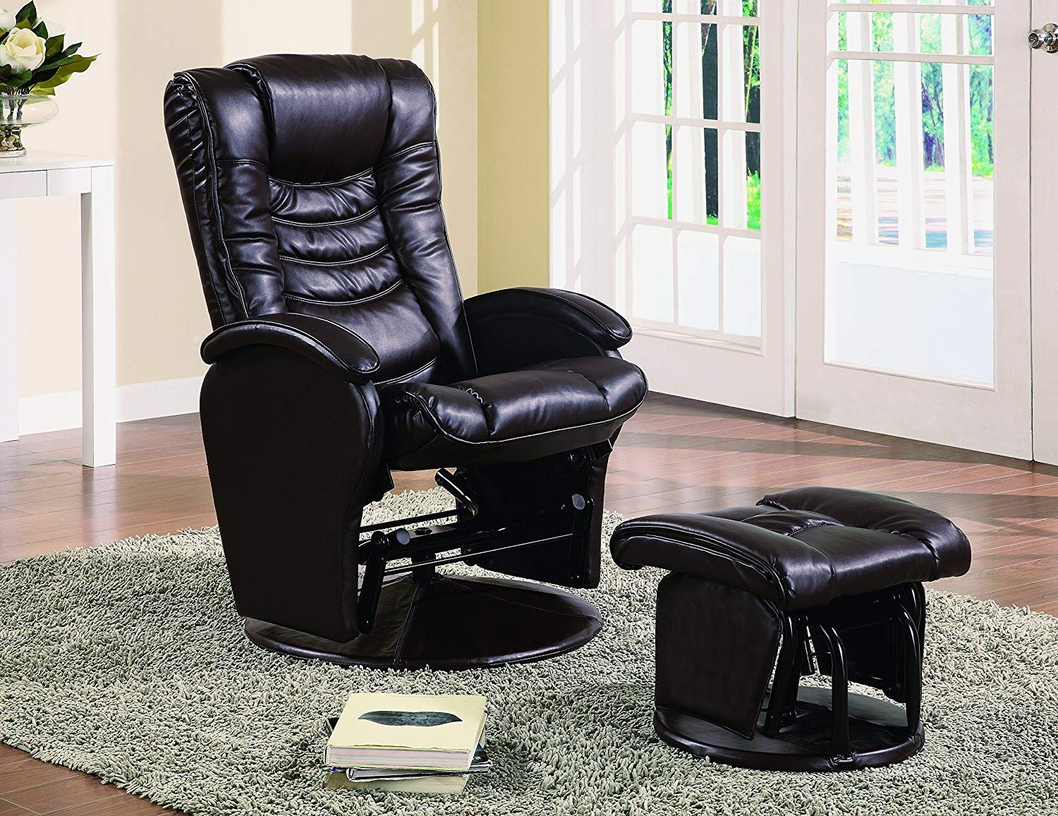 Glider Recliner Chair with Matching Ottoman Brown Luxury