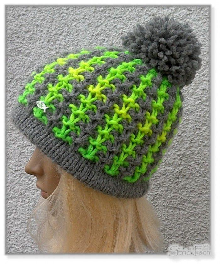 Neon Strick Mütze Mit Wow Effekt Häkeln Pinterest Knitting