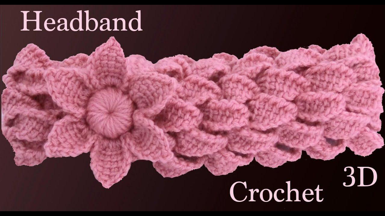 Diadema a crochet con trenzas de hojas y flor 3D en punto tunecino ...