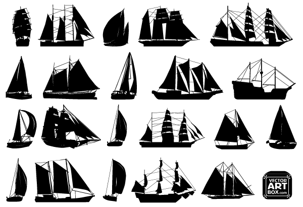 free vector sailboat silhouettes | silhouettes, paper quilling