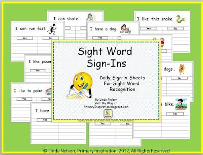 FREE sight word sign in sheets for mid-year K through beginnnig