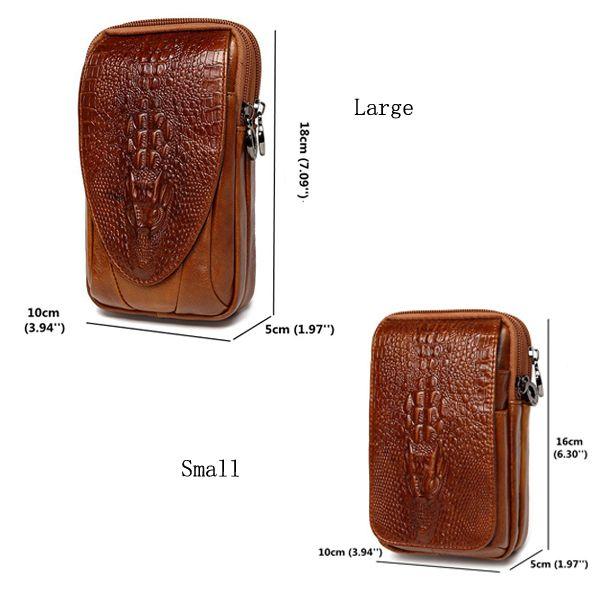 4.7 a 6 pollici di cellulare sacchetto del cuoio genuino impermeabile della vita pacchetto per gli uomini