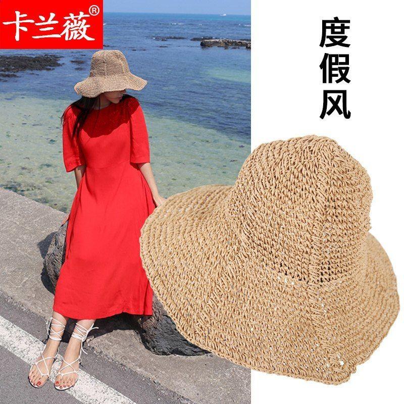 Girl Summer Foldable Cappello di Paglia Adulto Spiaggia Cappello da Sole  Foldalbe Cappelli Donna Cappellino Fiocco ca54c3266faf8